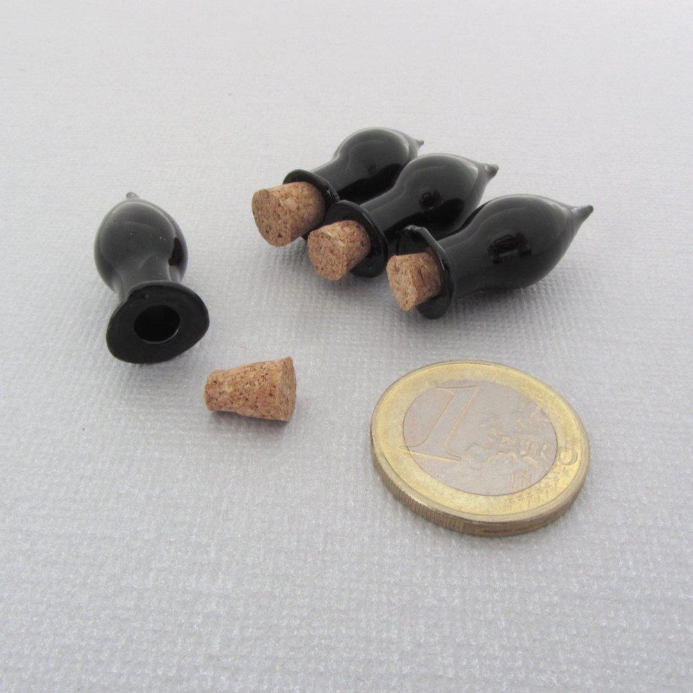 Lot de 8 fioles en verre miniatures - Forme goutte noire - Pendentif bouteille en verre miniature
