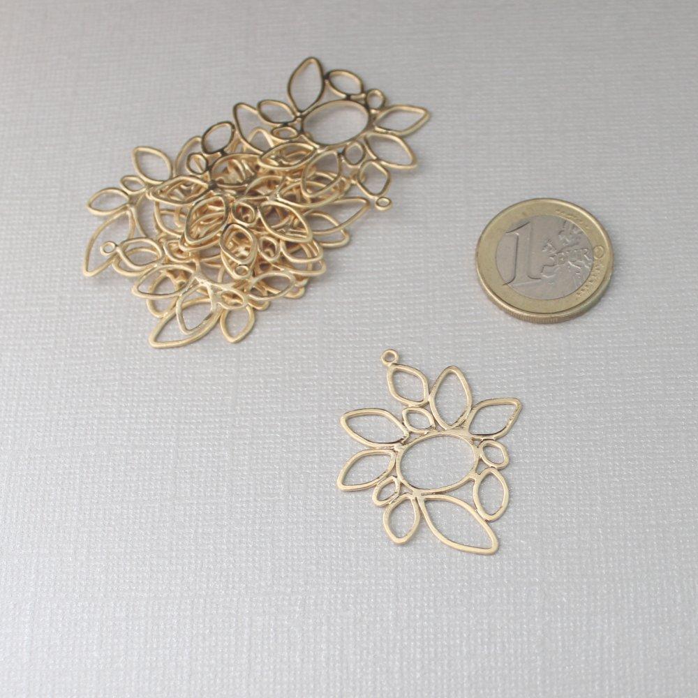 8 grands pendentifs Tournesol (fleur, soleil) en laiton doré à l'or fin - Belle qualité - Traité anti-ternissement