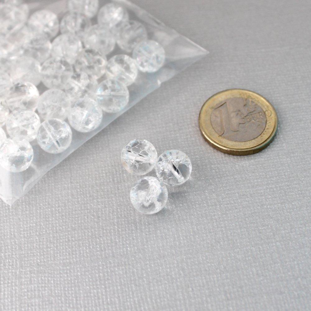 Lot de 36 perles rondes en cristal de roche craquelé - Diamètre 10mm