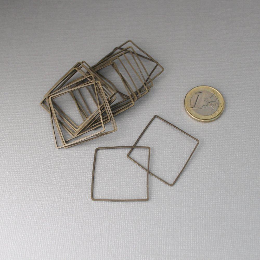 Lot de 20 connecteurs géométriques carrés ou losange - Intercalaire géométrique en métal bronze - 30mm