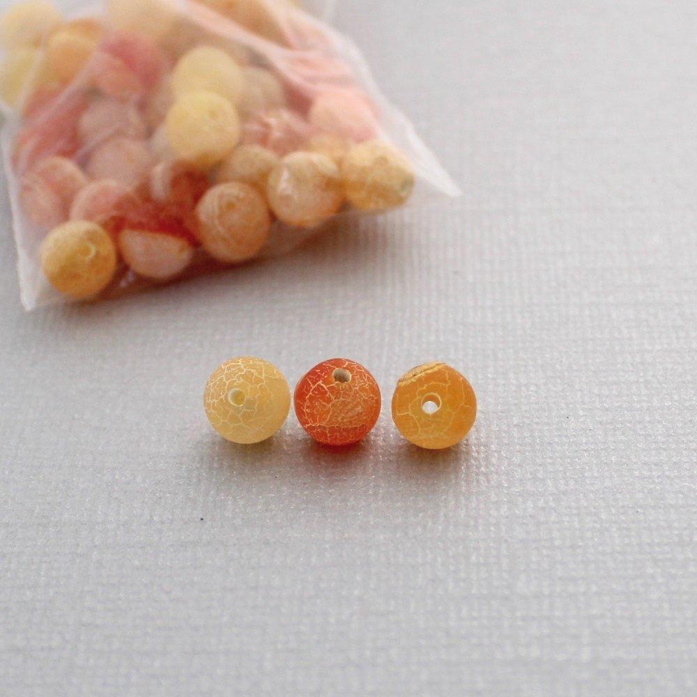 Lot de 80 perles d'agate effet givré et craquelé - Diamètre: 8mm - Orange et vert