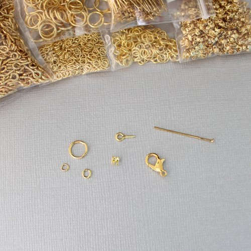 Kit diy en métal doré - anneau ouvert, embout à plier pour chaîne à billes, fermoir mousqueton, pitons et clous