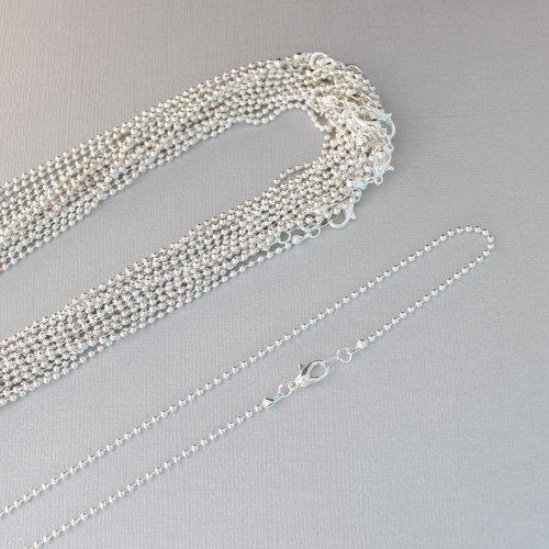 Lot de 17 supports pour colliers 45cm avec chaîne à billes et fermoir mousqueton en métal argenté sans nickel