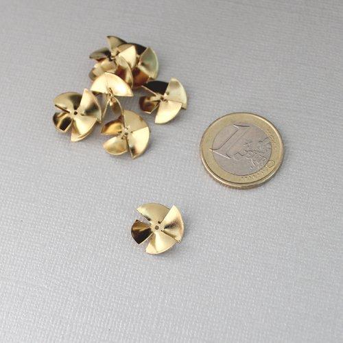 Lot de 11 perles ondulées 3d en laiton brut - breloque moderne pour bijoux tendance - 14mm