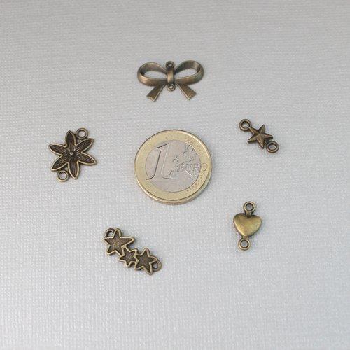 285 connecteurs en métal bronze - noeud, fleur et étoiles - intercalaire pour bijoux et boucles d'oreilles