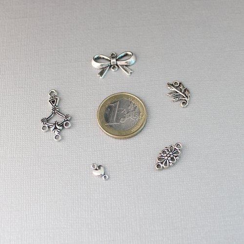 260 connecteurs en métal argenté vieilli - chandelier, connecteur noeud, intercalaire feuille, fleur et coeur