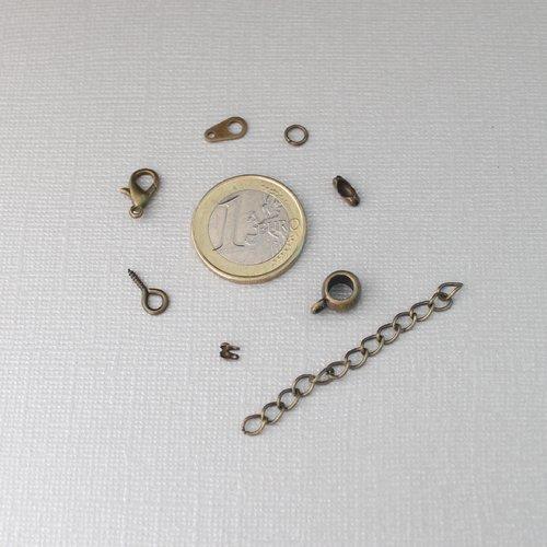 Kit diy bijoux en métal bronze - anneau ouvert, fermoirs chaîne boule, embout, bélière, chaînettes, pitons et mousqueton