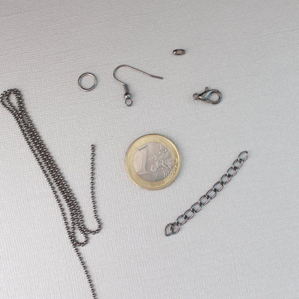Kit DIY Bijoux en métal gunmetal (noir) - Chaîne boule, chaînette d'extension, anneau ouvert, crochets d'oreilles et fermoirs