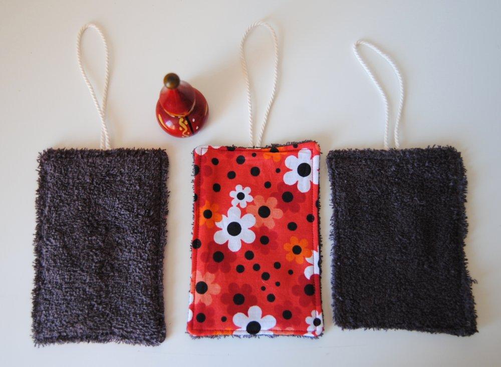 Lot de 3 éponges lavables, réutilisables et durables : idée cadeau maison pour cuisine et salle de bain zéro déchet, idée cadeau