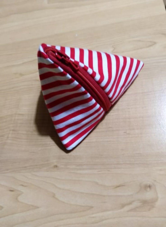 Trousse berlingot en coton rayée rouge et blanc