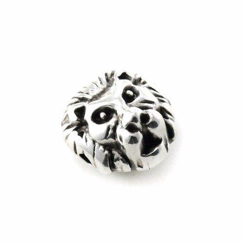 Perle tête de lion métal argenté 12x8mm