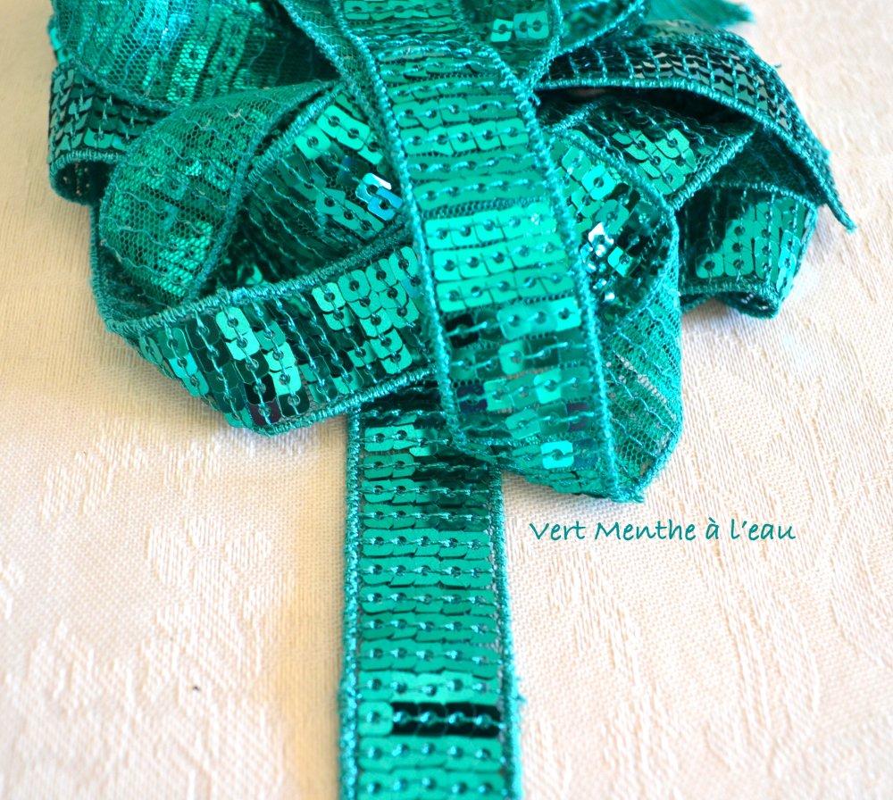 Ruban Vert Menthe à l'eau; Sequin Vanessa Bruno 4cm Paillette