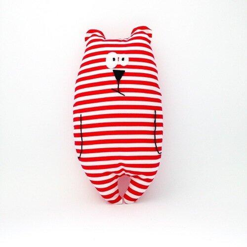 """Doudou ours """"jean-jacques"""" rouge et blanc motifs rayures / peluche / cadeau de naissance"""