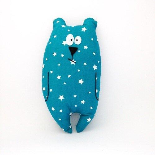 """Doudou ours """"jean-jacques"""" bleu motifs étoiles / peluche / cadeau de naissance"""