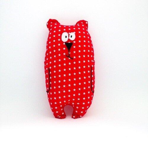"""Doudou ours """"jean-jacques"""" rouge motifs étoiles / peluche / cadeau de naissance"""