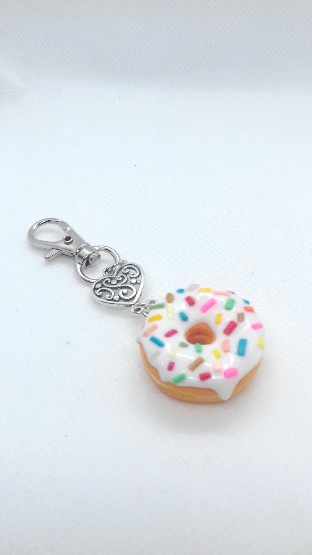 Porte-clés donut vanille-vermicelles
