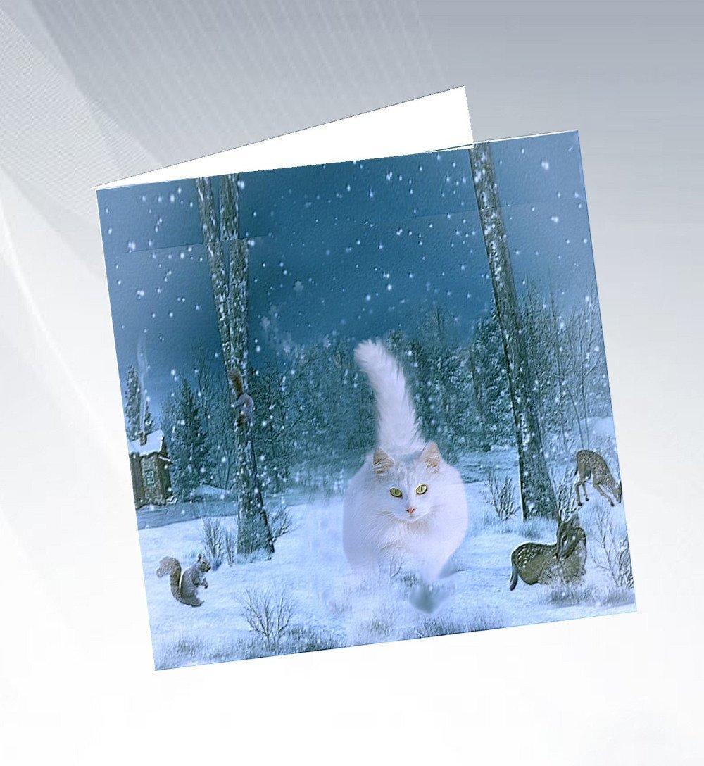 Carte  de voeux avec chat : le chat des neiges
