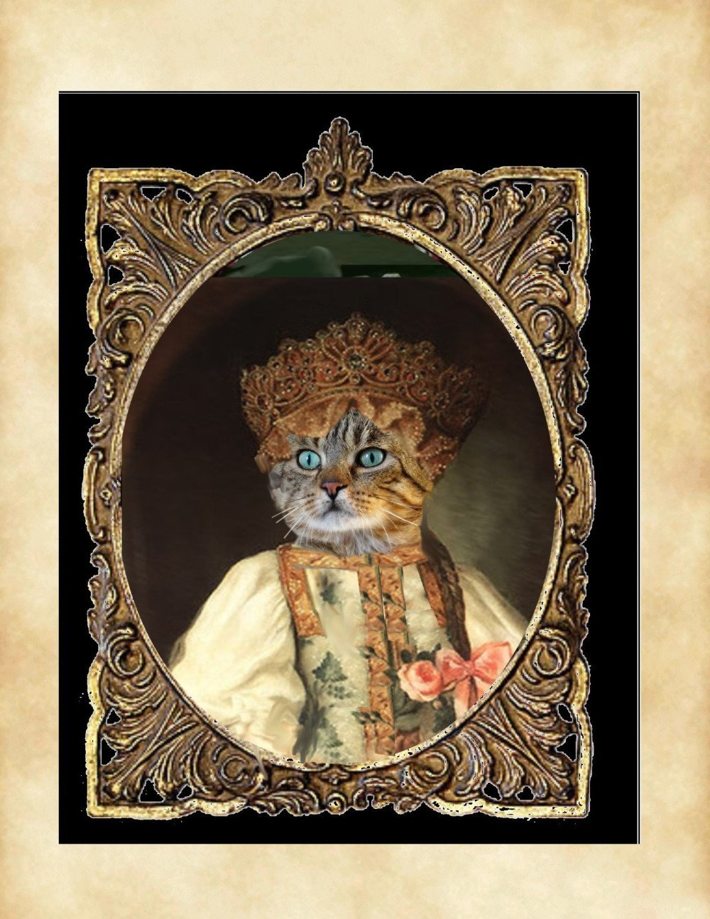 portrait de chat personnalisable ,  chat costumé en princesse russe, Anna Pavlovna