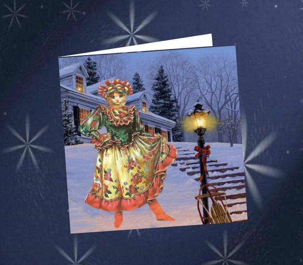 carte double , carrée avec chat  : ma robe de Noël