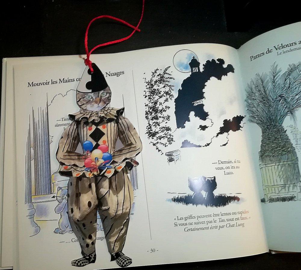 Marque-page avec chat et en forme de chat : mon petit clown