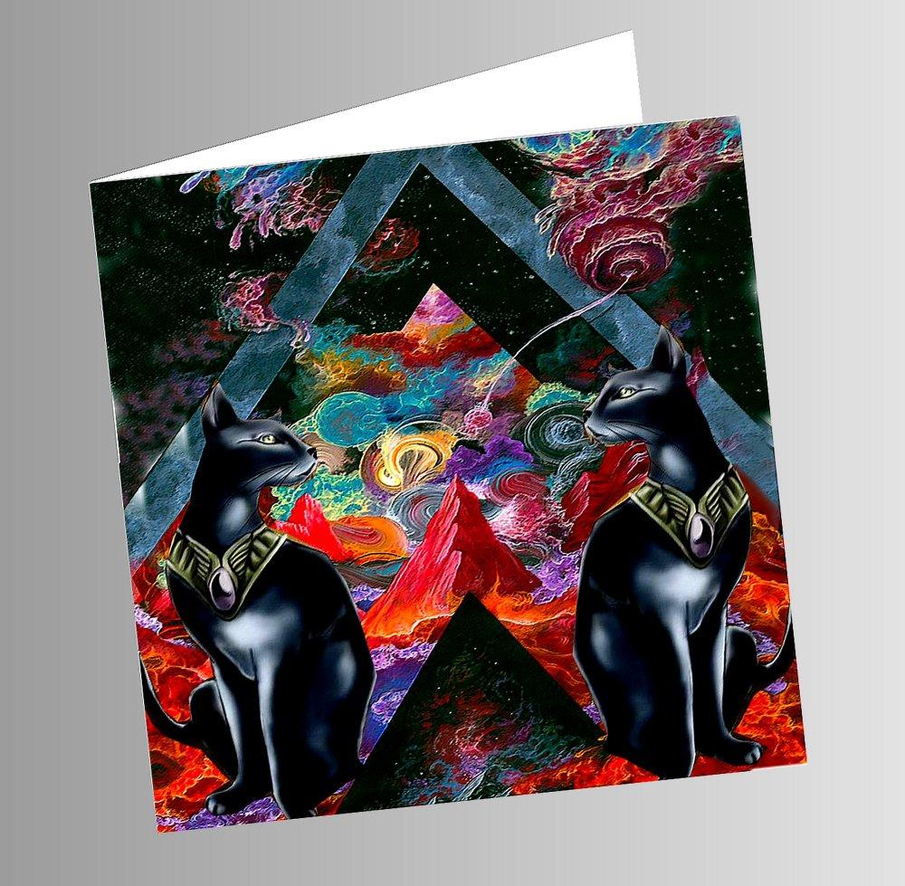 carte double , carrée avec chat  : duo egyptien