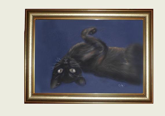 Portrait de chat au pastel sec :rêverie nocturne
