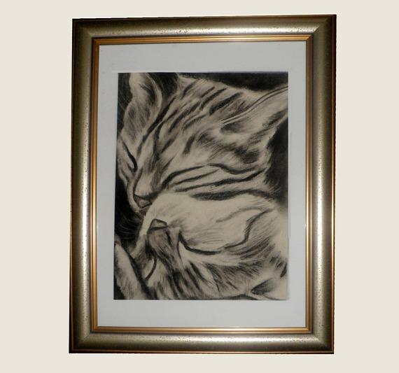 Portrait de chat au fusain :tendre duo