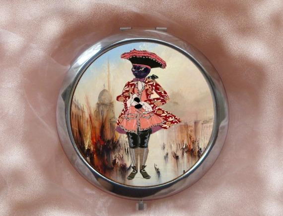 grand  miroir de poche avec chat : petit marquis vénitien