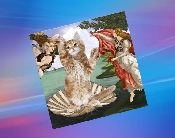carte double avec chat : la naissance de Venus, d'après le célèbre tableau de Botticelli