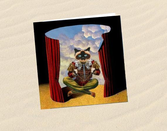 carte chat, carte de voeux chat , carte d'art chat: la tête dans les nuages