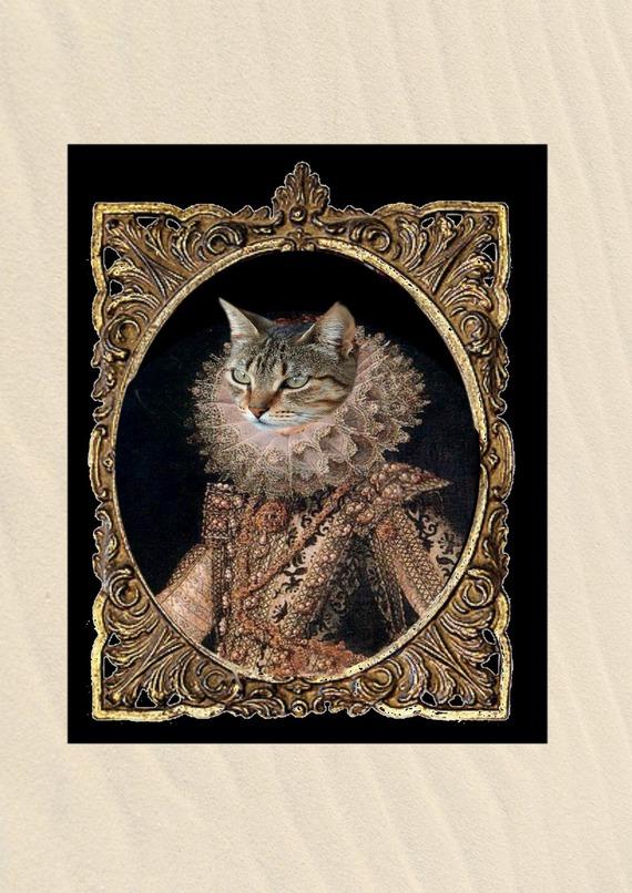portrait de chat personnalisable ,  chat costumé en reine : Marguerite de France, la reine mélancolique