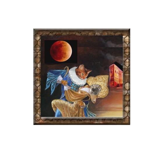 carte chat, carte de voeux chat , carte d'art chat:  lune rousse à Venise