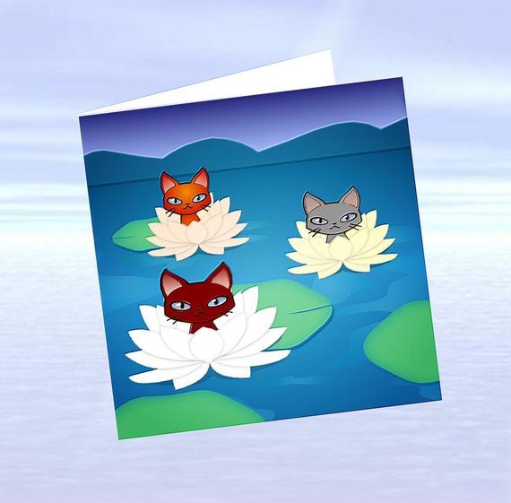 carte chat, carte de voeux chat , carte d'art chat: 3 nénuphars