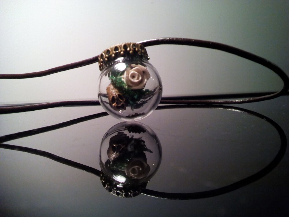 Petite Bulle mystérieuse - collier cuir et pendentif verre fimo et plante