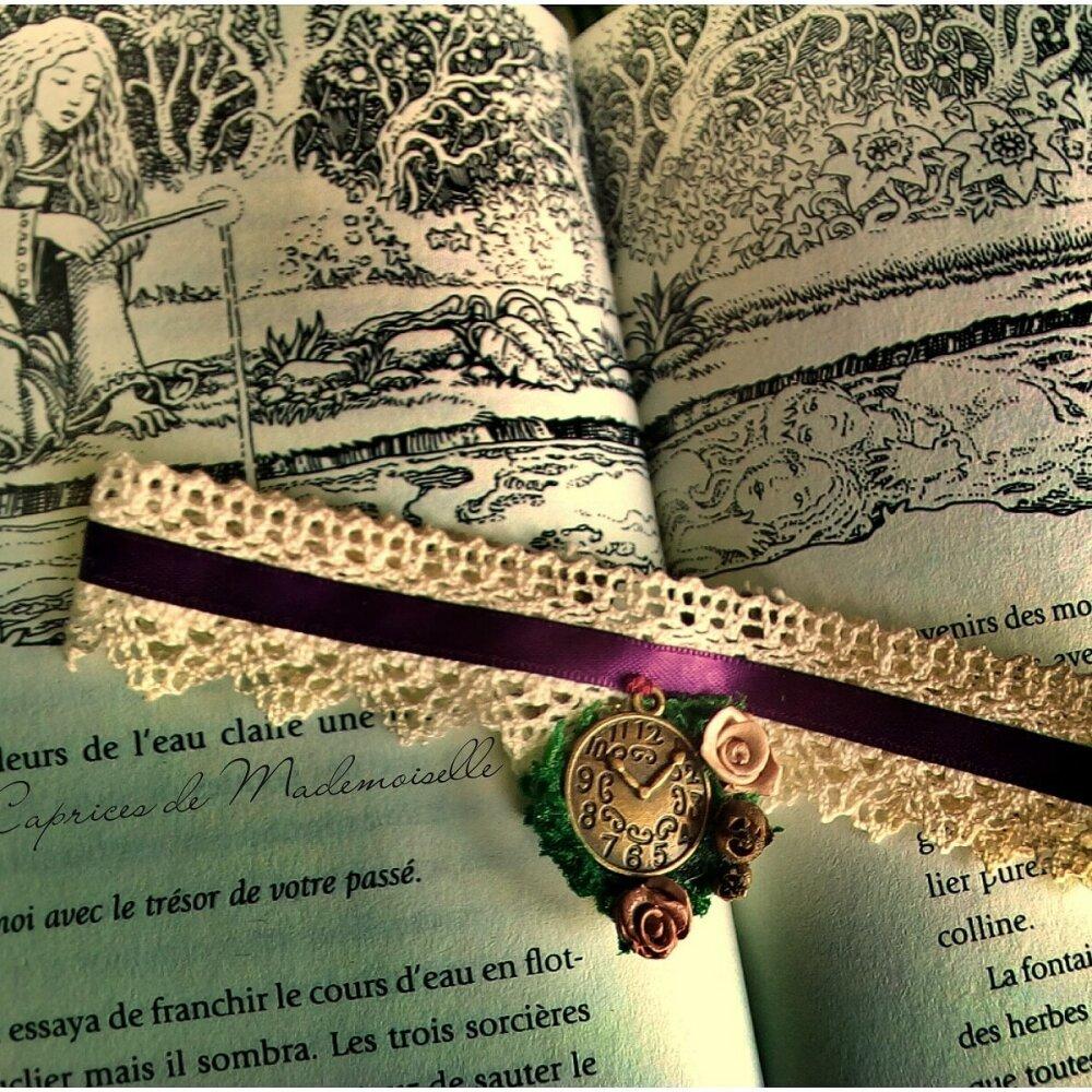 ras de cou dentelle et satin avec horloge tête de mort et roses collier vintage - steampunk - gothique