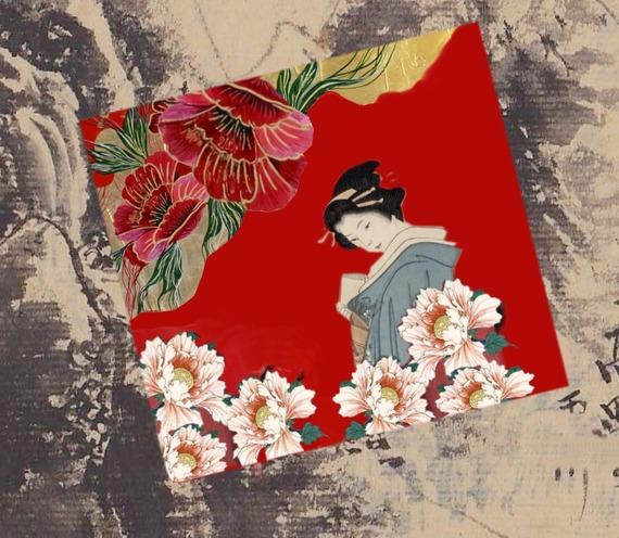 Carte carrée avec son enveloppe :la  japonaise aux pivoines