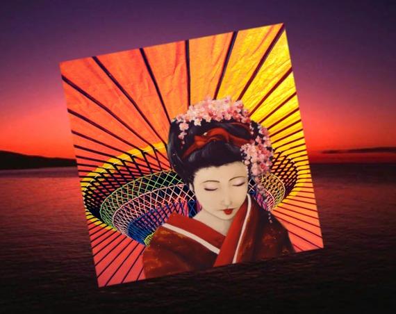 Carte carrée avec son enveloppe :la  japonaise à l'ombrelle