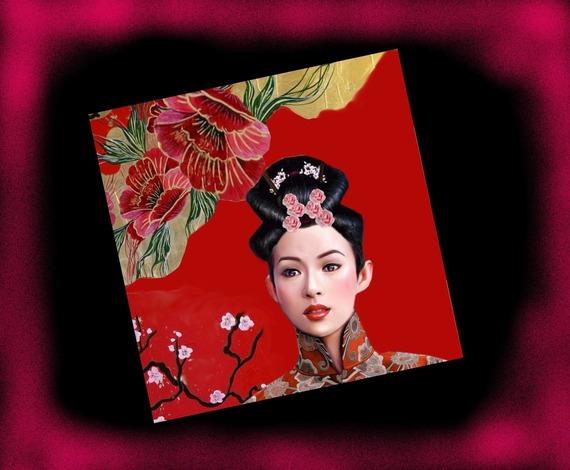 Carte carrée avec son enveloppe :geisha et fleurs