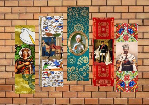 lot de 5 marque-pages :portaits de rois