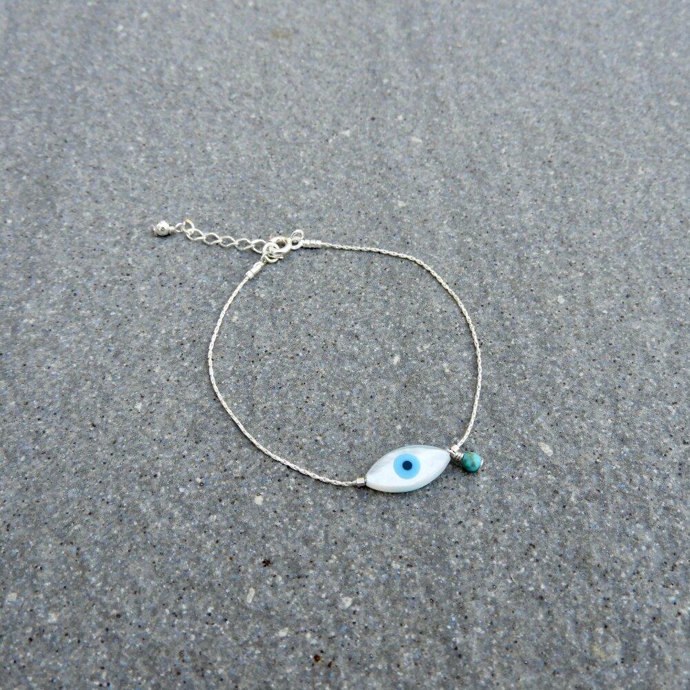 Bracelet Oeil nacre, turquoise, Argent 925