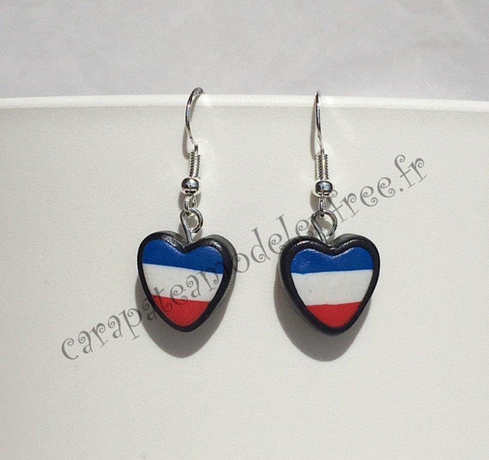 Paire de boucles d'oreille drapeau français