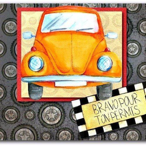 Carte Permis De Conduire Bravo Félicitations 21cm X 15cm