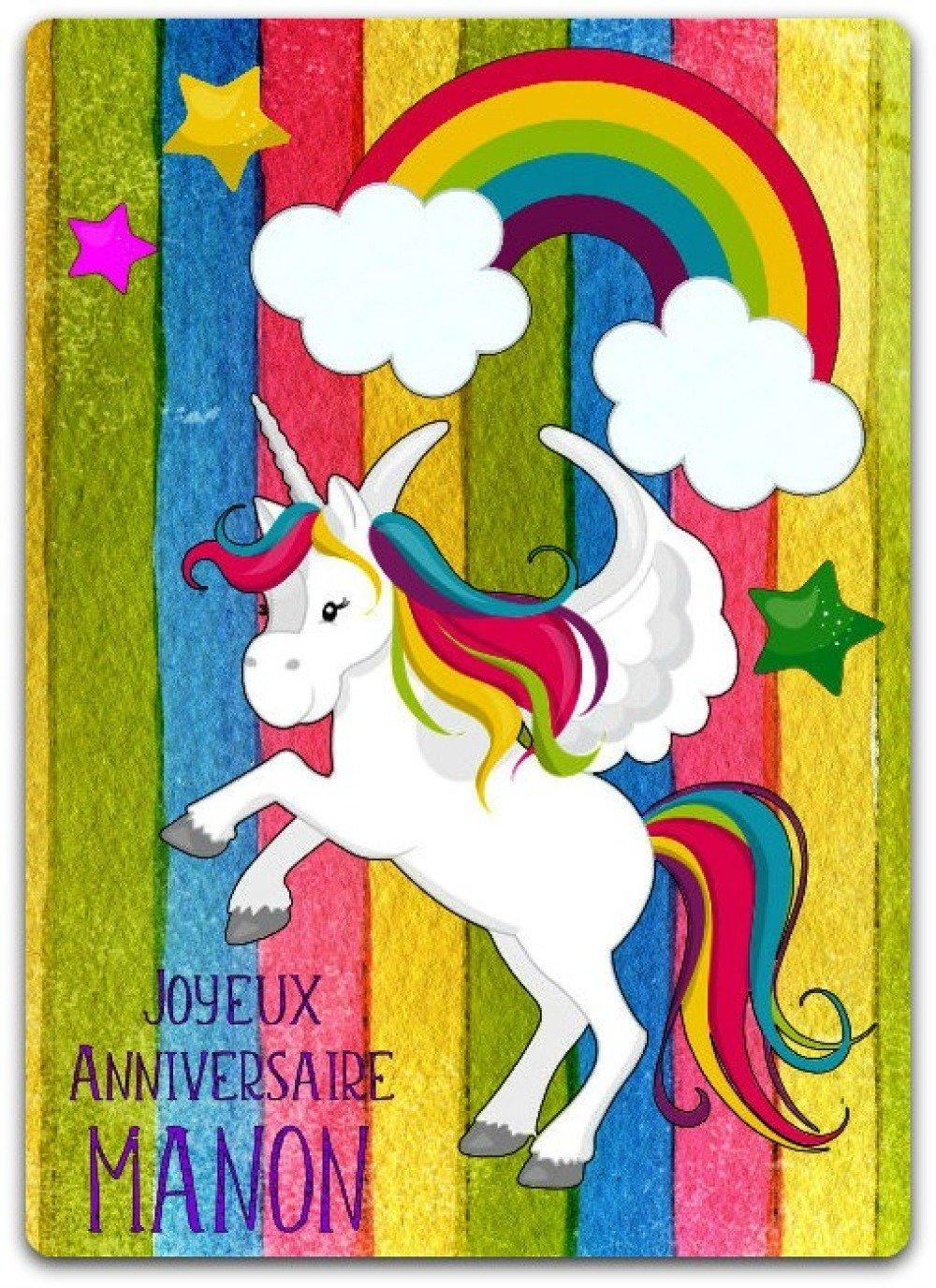 Carte Double Anniversaire Licorne Arc En Ciel à Personnaliser 12cm X 175cm