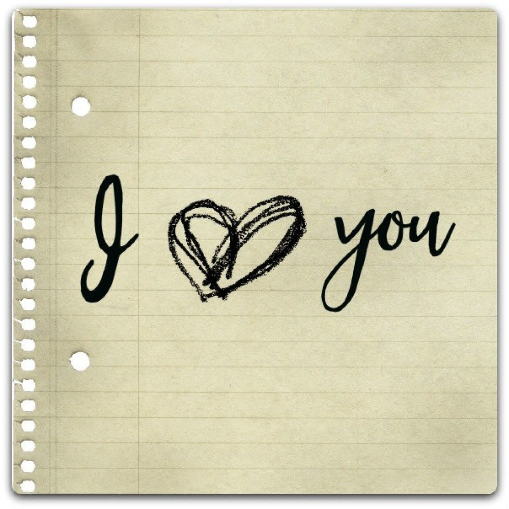 Carte double I love you création originale fait main 15cm x 15cm
