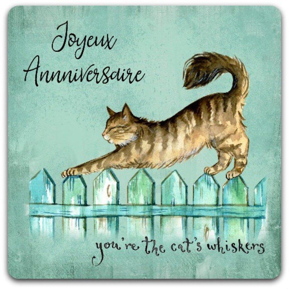 Carte Double Faite Main Joyeux Anniversaire Chat Cat 15cm X 15 Cm Avec Enveloppe Card Bubble Un Grand Marche