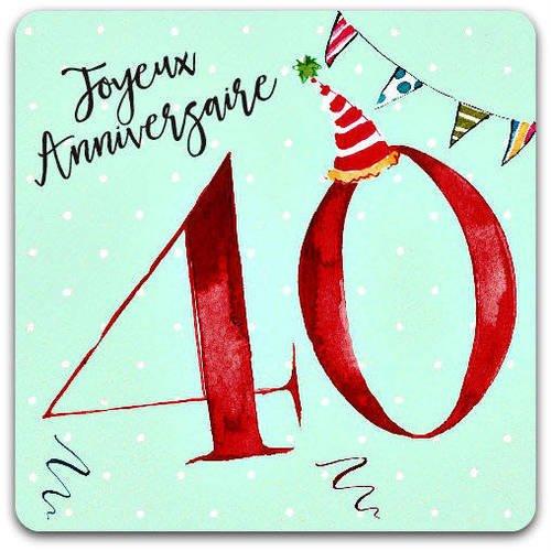 Carte Anniversaire 40ans 40 Years Old Joyeux Anniversaire 15cm X 15cm Avec Enveloppe Card Bubble Un Grand Marche