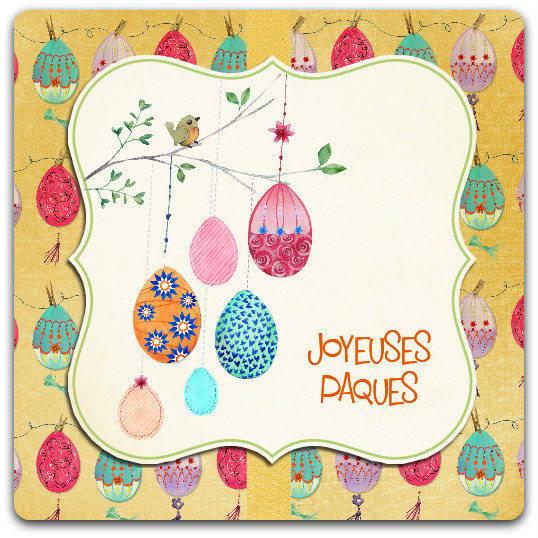 Carte de vœux Joyeuses Paques avec enveloppe 13.5cm x 13.5cm