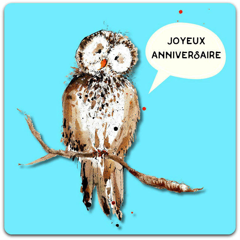 Carte double faite-main 'Joyeux Anniversaire' 15cm x 15cm avec enveloppe - Card Bubble