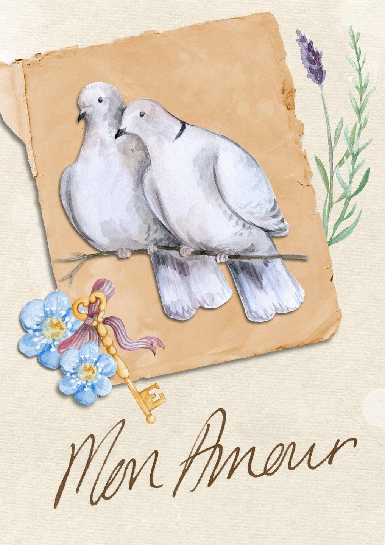 Carte double 'Mon Amour' faite à la main 21cm x 15cm