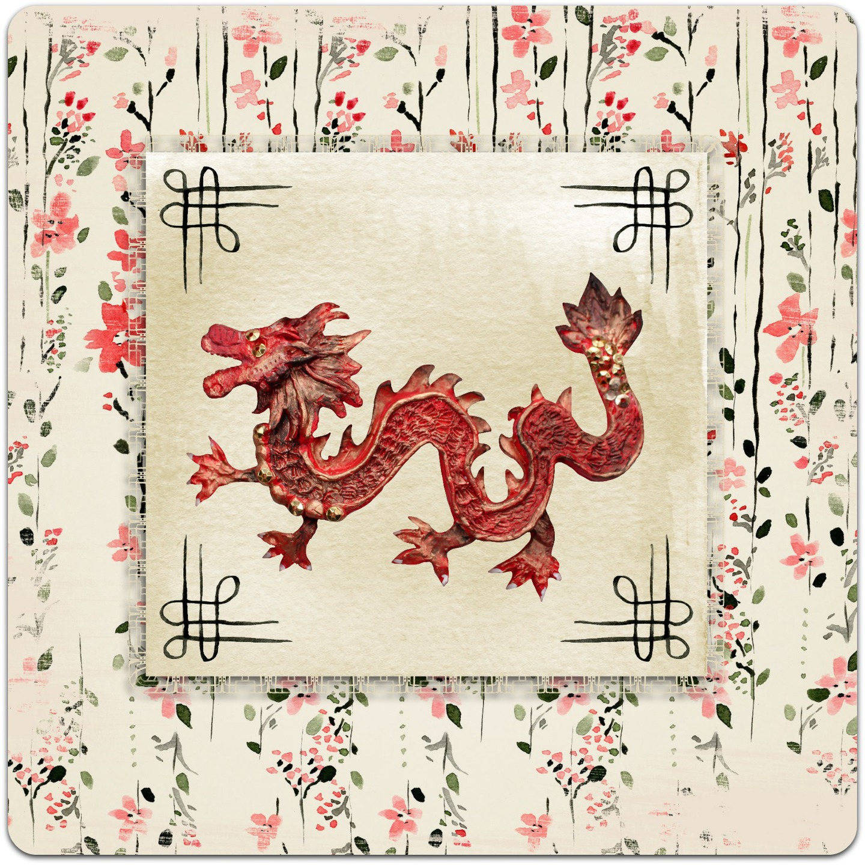 Carte double 'Le Dragon' faite à la main 15cm x 15cm